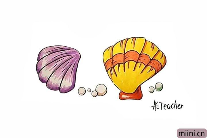 10.最后给贝壳涂上喜欢的颜色吧。