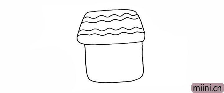 3.用波浪线勾勒出房顶的瓦片。
