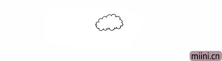 1.首先画出绵羊头顶的鬃毛.像一片云朵。