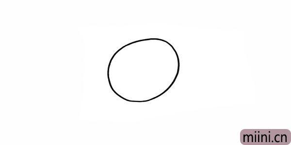 1.首先画出小黑的头部.一个不规则的椭圆。