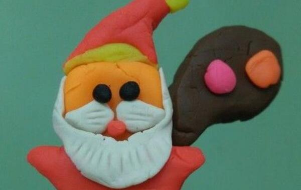 用儿童橡皮泥做一个圣诞老人步骤教程