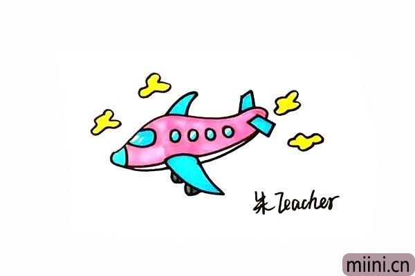 正在飞翔的飞机简笔画