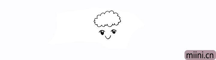 3.然后画出绵羊的鼻子。