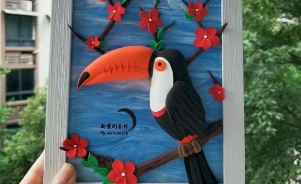 超轻粘土大嘴鸟玩偶制作教程