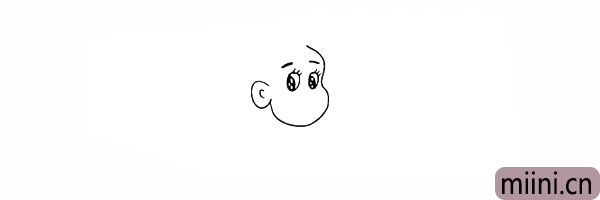 5.我们给妈妈画上两条眉毛。