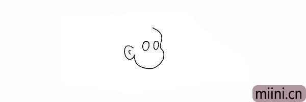 3.用两个圆画出妈妈的眼睛轮廓。