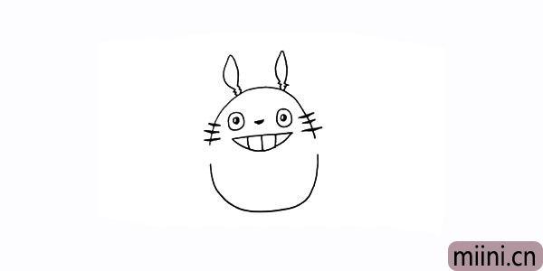 4.脸蛋两边画出几根胡须.还有它的尖耳朵。