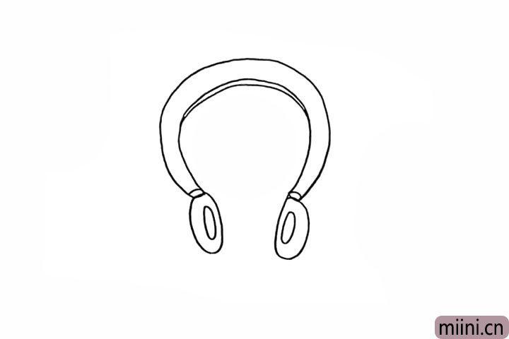 4.接着画出两侧的耳麦由两个椭圆组成。