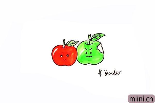 10.最后把好看又好吃的苹果涂上漂亮的颜色。