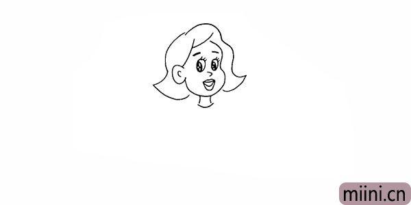 8.向下画出她长长的脖子。