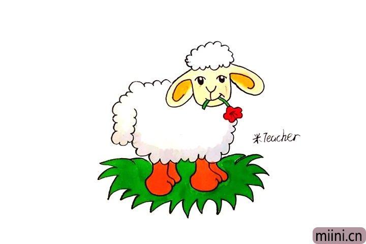 12.最后给小绵羊涂上漂亮的颜色吧。