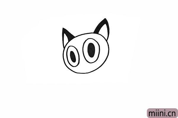 4.还有它的两个尖耳朵.把两侧涂上黑色。
