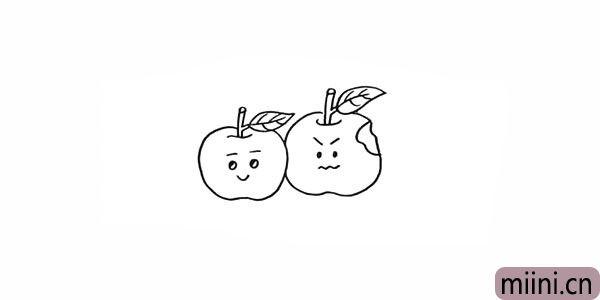 9.老师把右边的苹果画上一个撇嘴的表情。