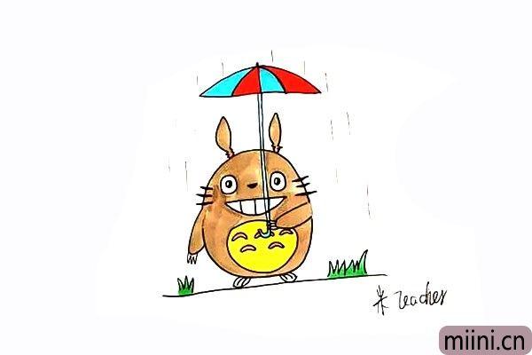 打雨伞的龙猫简笔画