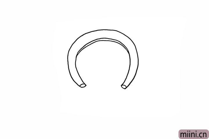 3.在它的两端画上两个小圆。