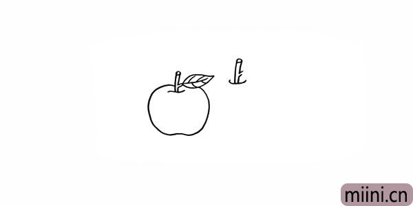 4.然后在旁边画上一个大的苹果.同样先画出果柄。