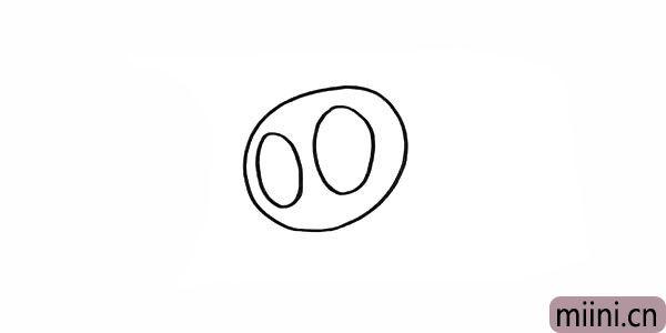 2.在头部的中间画出两只大大的眼睛。