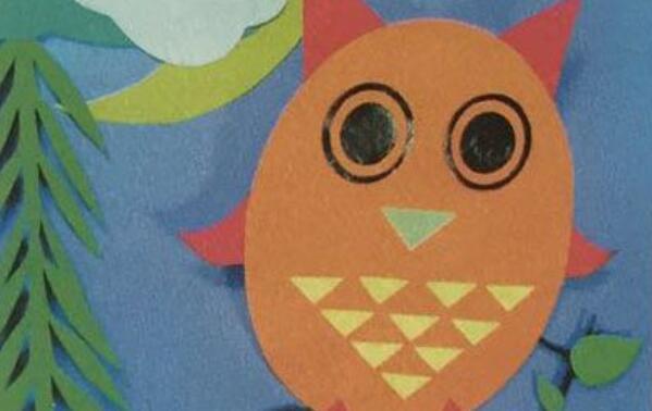 猫头鹰剪纸画步骤图解