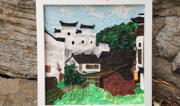 江西婺源特色建筑房子粘土画制作步骤图集