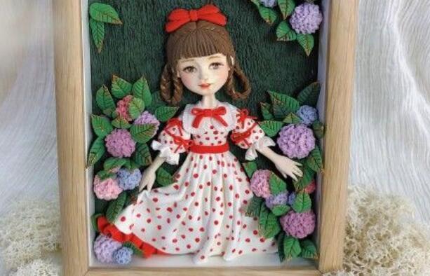 用粘土制作一个可爱小姑娘画的步骤图解