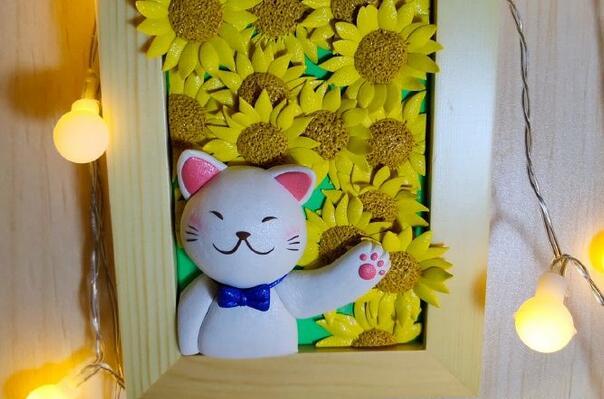 猫咪向日葵黏土创意画框制作教程