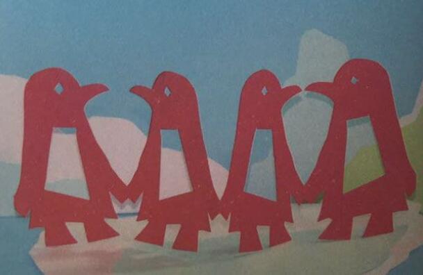 企鹅剪纸步骤图解