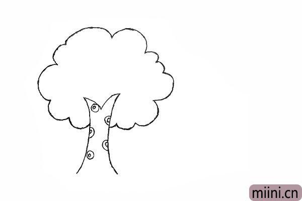 3.用大小不同的圆圈.画出树皮的纹理。