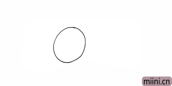 1.首先画一个圆.是西瓜的轮廓。