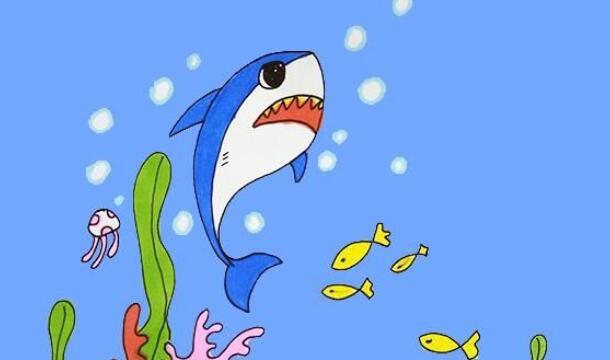 海中杀手,鲨鱼简笔画步骤教程