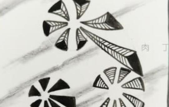 号角衍生山的禅绕画画法