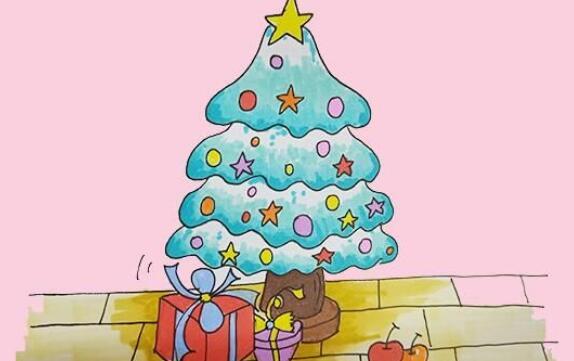 圣诞树幼儿简笔画步骤教程