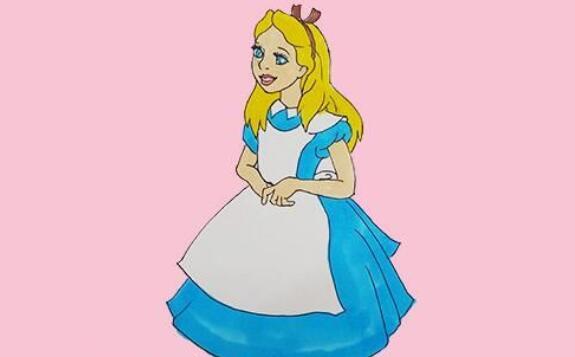 爱丽丝幼儿简笔画人物步骤教程
