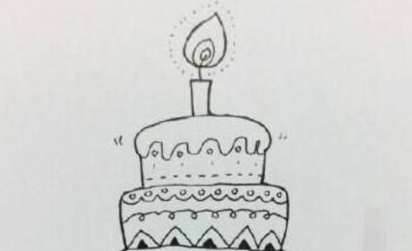 生日蛋糕简笔画步骤教程