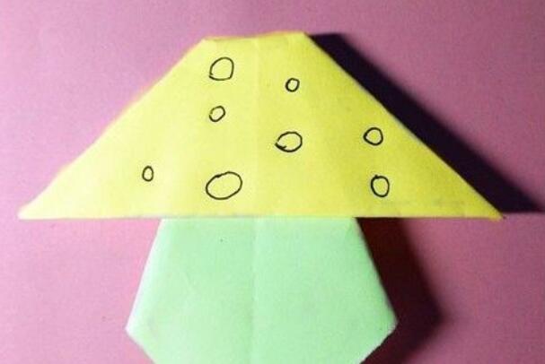 儿童折纸,小蘑菇怎么折