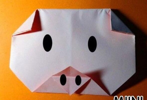 简单小猪头折纸步骤教程