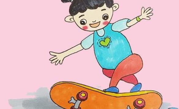 幼儿简笔画,画一个玩滑板的小女孩步骤教程