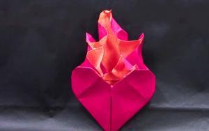 正在燃烧的心脏折纸教程
