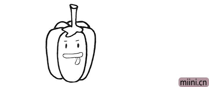 3.我们给它加上调皮的表情.它伸着舌头。