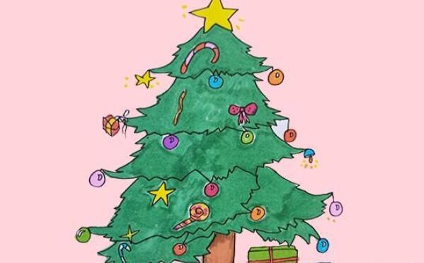 圣诞树简笔画步骤教程