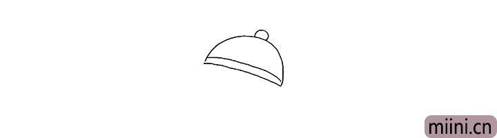 1.首先画出小男孩的帽子.注意线条的变化。