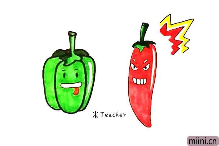 9.最后把画好的辣椒涂上漂亮的颜色吧。