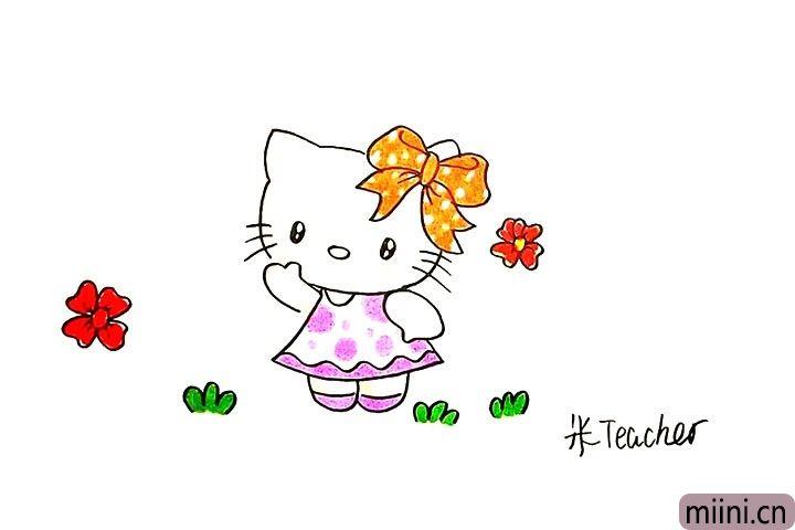 9.最后把可爱的kt猫涂上漂亮的颜色吧。