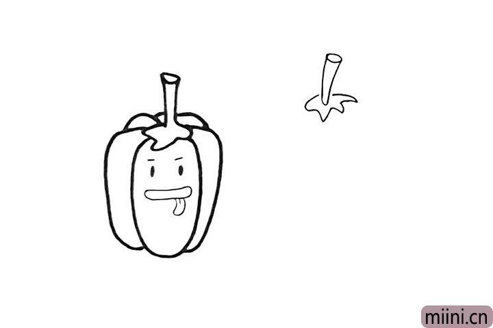 4.在旁边画出另一个辣椒.先画出辣椒柄。