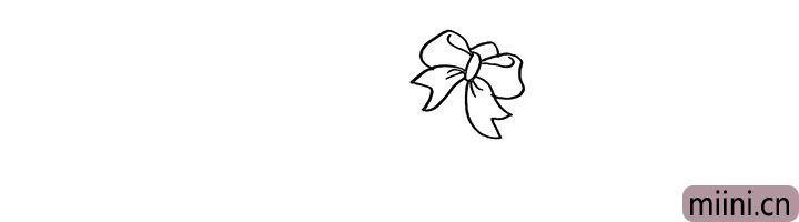 1.首先画出kt猫的蝴蝶结.注意线条的变化。