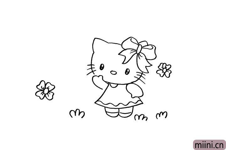 8.然后在空白处画一些花朵和小草装饰一下。