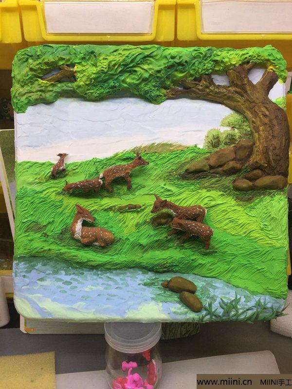 开心小鹿粘土画 第36步