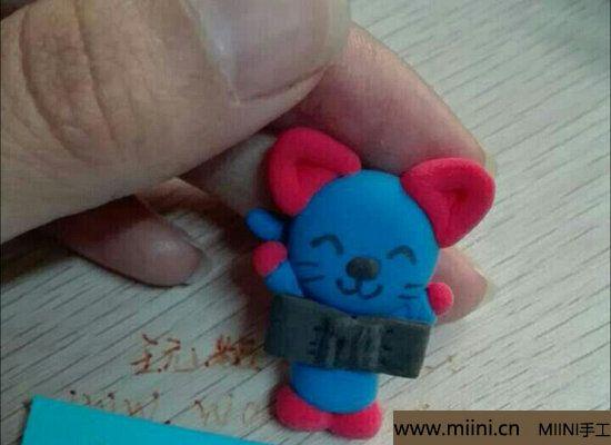 蓝色小猫咪挂件粘土教程 第15步