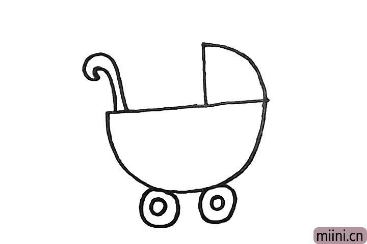 4.然后用一大一小的圆形画出车轮。