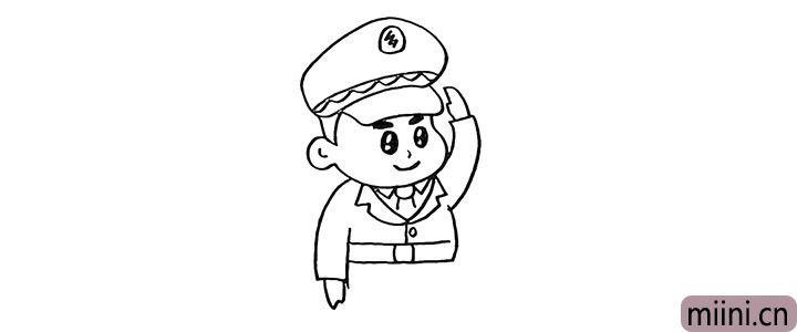 8.然后画出他的腰带和衣扣部分。