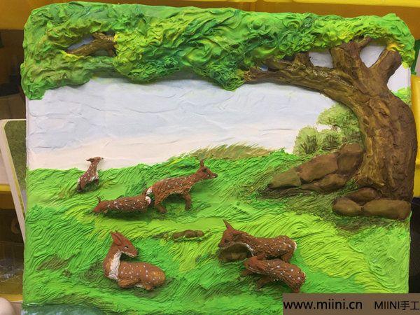 开心小鹿粘土画 第37步